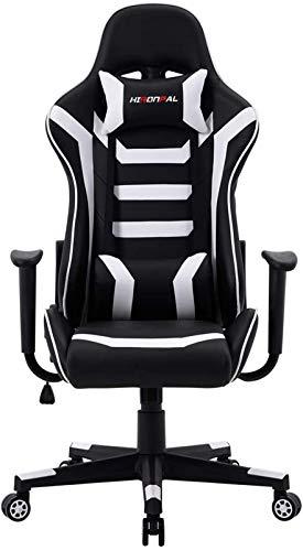 TUHFG Sillón reclinable para ordenador, oficina, color rojo, para carreras, ergonómica, de cuero ejecutivo, reclinable, reposacabezas giratorio y soporte lumbar, silla E-Sports (color negro)
