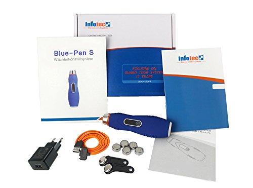 Wächterkontrollsystem Blue-Pen S I Komplettes Set I IButton Kontrollstellen I Mobile Zeiterfassung I Erinnerungsfunktion I Klassisch oder online nutzbar