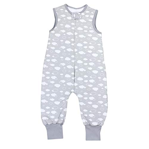 TupTam Baby Unisex Winter Schlafsack mit Beinen, Farbe: Wolken Grau, Größe: 80-86