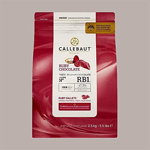 Lucgel Srl 2,5 Kg Cioccolato di Copertura Rosa Naturale RUBY CALLEBAUT in Callets per Gelato e Pasticceria Artigianale Gluten Free