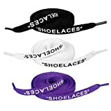 Jurxy 3 Paare 'Schnürsenkel' Text gedruckte flache Schnürsenkel Ersatzschnürsenkel für Sneakers Schnürsenkel Swap - 1,2 M - Schwarz weiß lila