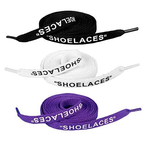 """Jurxy 3 coppie """"Shoelaces"""" Testo stampato Sostituzione piatta delle scarpe Lacci per scarpe da ginnastica Swap Lacci per scarpe - 1.2M - Nero Bianco Viola"""