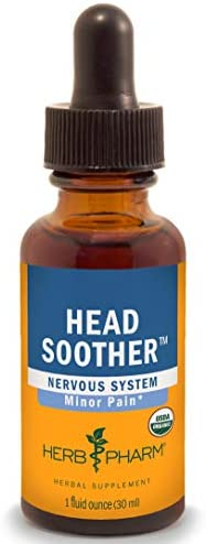 Herb Pharm Certified Organic Head Soother Liquid Herbal Formula for Minor Pain Relief 1 Fl Oz product image