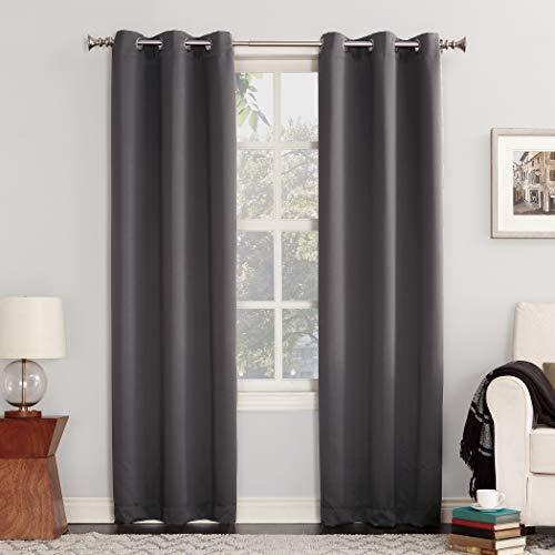 """Sun Zero Easton Blackout Energy Efficient Grommet Curtain Panel, 40"""" x 84"""", Charcoal"""
