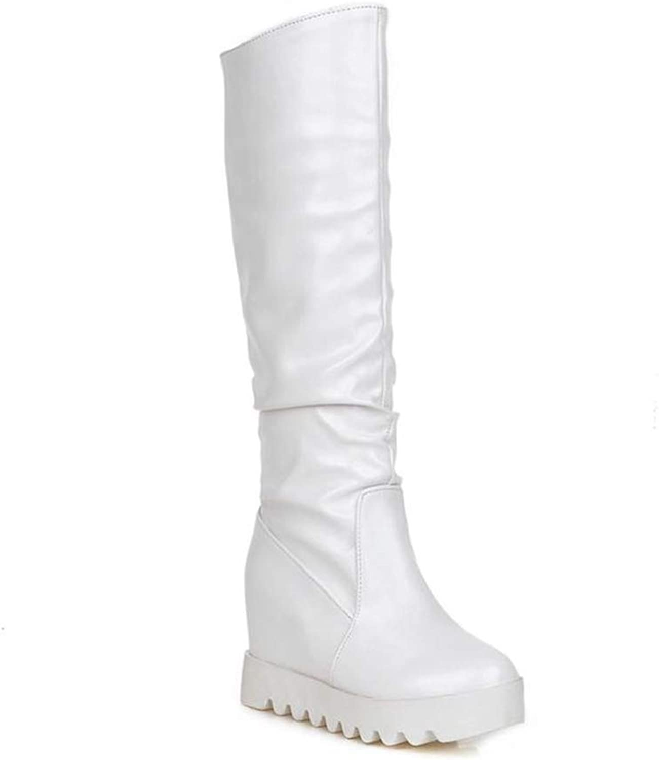 T-JULY Fashion Mid Calf Boots for Women Winter Solid Slip On Boots Height Increasing Large Size 34-43