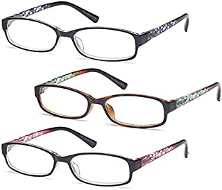 Gamma Ray Women's Reading Glasses 3 Pair Print Ladies Fashion Readers for Women