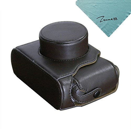 Zenness Caja de la cámara PU Cuero Bolsa protectora para Fujifilm FinePix X10 X20 cámara Digital (café)