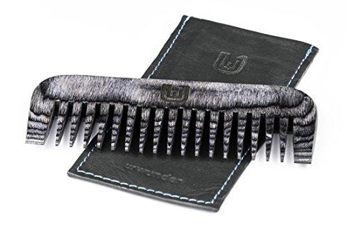 Bartbändigender Premium-Bartkamm + Hochwertiges Echtleder-Etui   Hosentaschen-taugliches Set   Antistatisch   Wasserfestes Pakka-Holz   urwunder Combo (Schwarz matt)