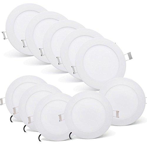 [10 Stück] MIWOOHO 10X6W Ultraslim LED Panel Einbaustrahler Einbauleuchte Deckenleuchte Deckenlampe Spot Einbau Lampe (Warmweiß:3000-3500K)