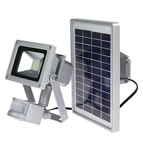 as-Schwabe Chip-LED Arbeitsleuchte mit Bewegungsmelder - 10 W Profi Baustrahler mit Solar Panel – LED Spot geeignet als Arbeitslicht – LED Leuchte für die Außenbeleuchtung – IP44 - Silber I 46978