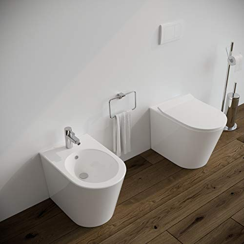 Sanitari bagno filomuro a terra Bidet e Vaso WC in ceramica con sedile coprivaso softclose Round