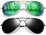 Joopin Aviator Sunglasses for Men Women, Metal Frame Military Style Sunglasses Polarized (Black+Green)