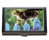 Titular de la tarjeta de visita profesional, gatito animal lindo gato flor caja de tarjeta de visita para hombres y mujeres.
