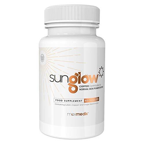 Sunglow Selbstbräuner Kapseln - Vitamine für die Haut, Bräunungskapseln hochdosiert, Mit Beta Carotin, Vitamin E & Lutein, Sun Komplex natürlich für braune Haut, Tan & Braun - 60 Tabletten Vegan