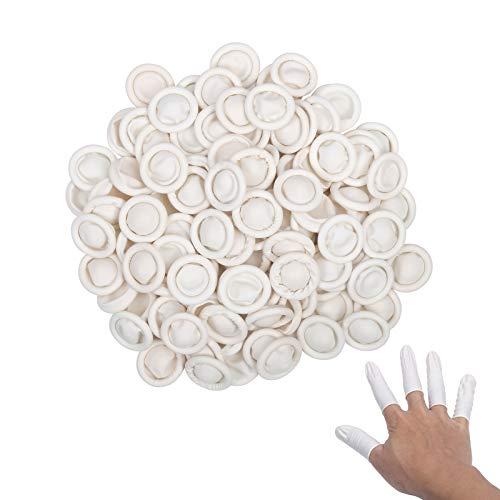 ZERHOK Guanto da dito 300 PCS Dito in lattice bianco non scivoloso idrorepellenza accogliente avere elasticità per proteggere la ferita uso industriare manufatto