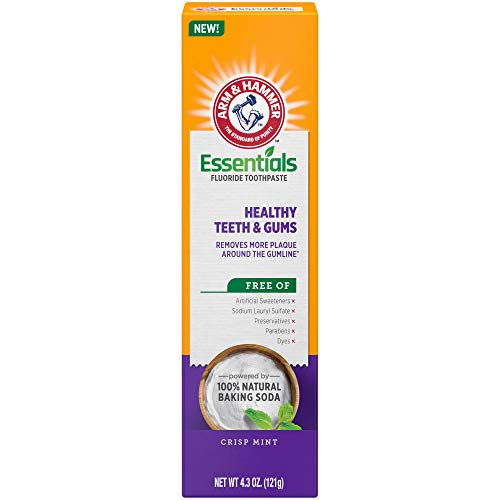 ARM & HAMMER Essentials Healthy Teeth & Gums Fluoride Toothpaste-4 Pack of 4.3oz Tubes, Crisp Mint- 100% Natural Baking Soda- Fluoride Toothpaste