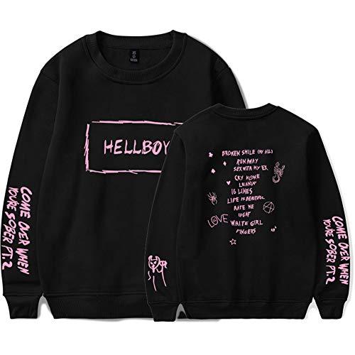 Unisex Sweater Lil Peep Hello Boy Shirt Langarm Top Winter/Herbst Pullover Bequemer Shirt Baggy Tops Fashion Schwarz Oversize XL