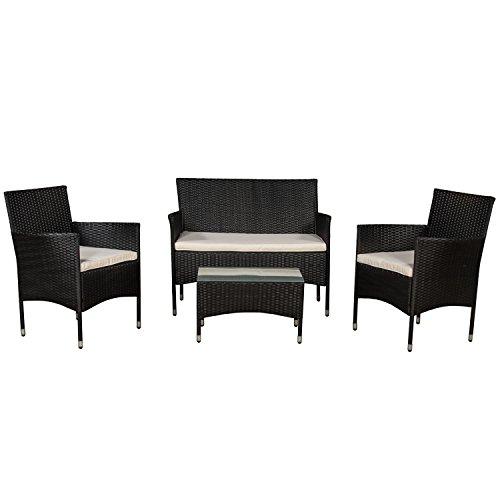 ArtLife Polyrattan Gartenmöbel-Set Fort Myers schwarz – Sitzgruppe mit Tisch, Sofa & 2 Stühlen - Balkonmöbel für 4 Personen mit Creme-weißen Auflagen