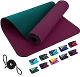 TPE REFIT Yogamatte Trainingsmatte 183 x 61 x 0,6 cm - Aubergine Moosgrün rutschfeste Matte Home Workout Outdoor Gymnastikmatte Turnmatte...