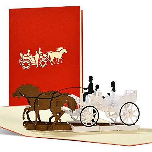 Edle Hochzeitskarte, 3D pop up Kutsche, elegante vintage Glückwunschkarte Hochzeit, originelle Hochzeitseinladungskarten, klassisch, mit Umschlag, L18AMZred