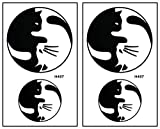 Mini Tattoos 2 Sheets Black and White Cat Chinese Yin Yang Waterproof Temporary Tattoo Cute Stickers Tattoos Fashion Sexy Fantasy Party Stickers Tattoo Make up Body for Men Women Kids Children's (01)