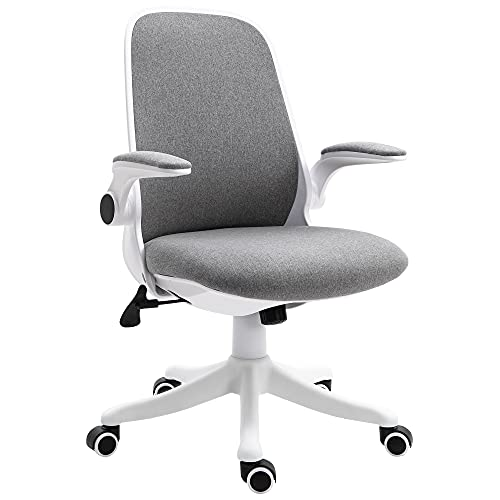 Vinsetto Bürostuhl Schreibtischstuhl Drehstuhl mit Wippfunktion Armlehne verstellbar höhenverstellbar ergonomisch Leinenimitat Nylon Grau+Weiß 62,5 x 60 x 90-98 cm