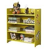WJJ Estanteria Libros Sala de Estudio de los niños estantería con almacenaje de la Historieta, Dibujo Libro Gabinete, ambientalmente amistoso Fácil Instalación (Color : Yellow)