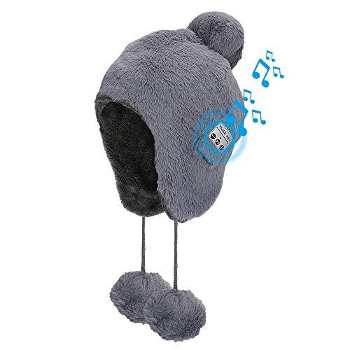 Brynnl Bonnet d'hiver pour femme avec écouteurs Bluetooth en fausse fourrure - Bonnet de musique Bluetooth - Bonnet pour femme - Bonnet chaud pour femme (gris)