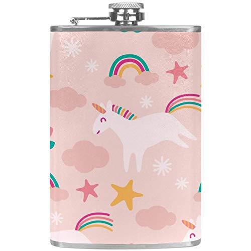 Petaca plana con embudo de acero inoxidable y 100% a prueba de fugas con unicornio de dibujos animados y nubes arcoris