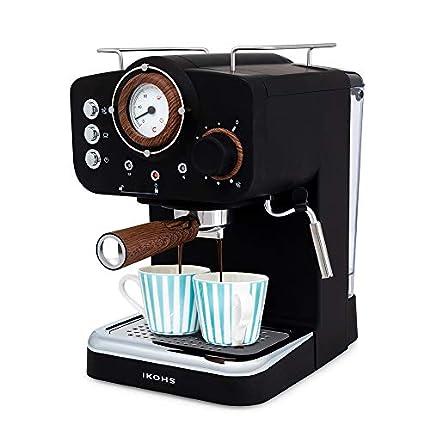 IKOHS THERA Retro - Cafetera Express para Espresso y Cappucino, 1100W, 15 Bares, Vaporizador Orientable, capacidad 1.25l, Café Molido y Monodosis, Con Doble Salida (Negro Mate)