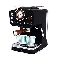 ikohs thera retro - macchina del caffè express per caffè espresso e cappuccino, 1100 w, 15 bar, vaporizzatore regolabile, capacità 1,25 l, caffè macinato e monodose, con doppia uscita (nero opaco)