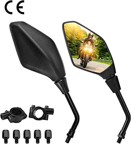 Motorrad Rückspiegel Universal 8mm 10mm Motorrad Spiegel E-Prüfzeichen Rückseitenspiegel Seitenspiegel Kompatibel mit MT 07 MT 09 SV650 GSX-S1000 - Schwarz