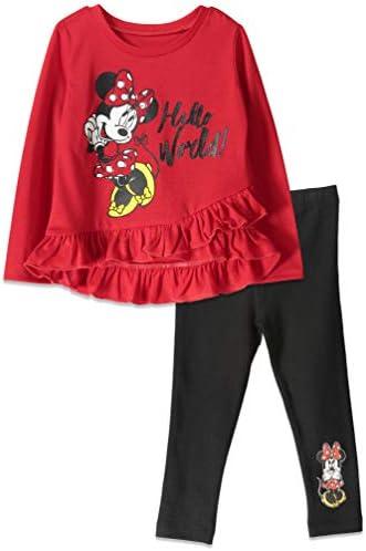 Disney Mickey Mouse Toddler Girls Long Sleeve Ruffled T Shirt Legging Set Red 5T product image
