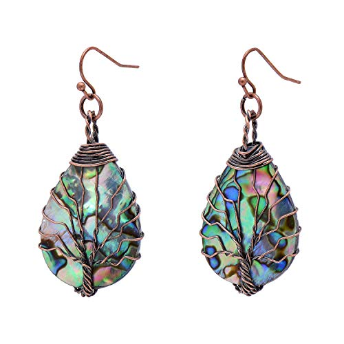 Tree of Life Hand Wrapped Sea Abalone Shell Earrings for Women, French Wire Antiqued Copper