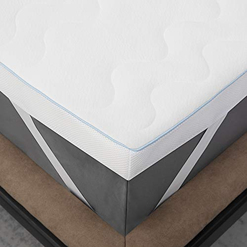 Bedsure Memory Foam Mattress Topper Double Bed - Breathable 2 Layer Bed Mattress with Washable Zipped Cover, 135x190cm
