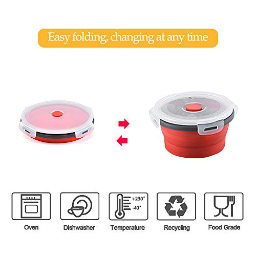 KINDOYO Portable Collapsible Cup and Bowl Set - 200ml Silicone Collapsible Cup and 350ml Camping Bowl for Outdoor Camping and Hiking(Red),Red cup*1+Red bowl*1