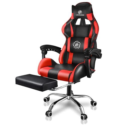 sedia ufficio ergonomica massaggiante LUCKRACER Sedia Gaming Ufficio da Scrivania con Massaggio Poltrona Ergonomica Sedie da Gaming Girevole con Rotelle