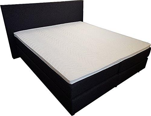 Matratzen Perfekt Boxspring-Bett Florenz mit 7-Zonen Federkern-Matratze und Kaltschaum-Auflage, je 2 Einzel-Betten mit 2 Taschenfederkern-Matratzen (H5), 5 cm Matratzen-Topper, 180 x 200 cm, Schwarz