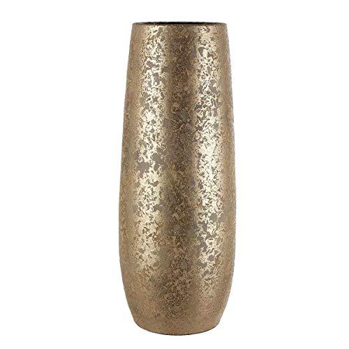 MICA Decorations Deko Vase Clemente rund Gold - 55 x Ø 21,5 cm - Bodenvase - Blumenvase hoch