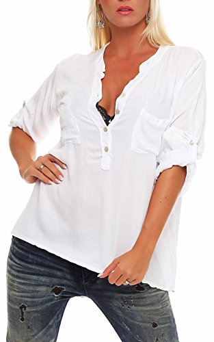 Malito Damen Bluse mit Knopfleiste | Tunika mit ¾ Armen | Blusenshirt auch Langarm tragbar | Elegant - Shirt 9015 (weiß)