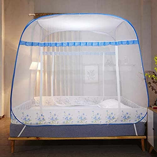 Dosel De La Cama Instalación Simple Puerta Doble Tienda Fácil Almacenamiento Viajes Al Aire Libre Cámping Patios,Light Blue,180X200 CM
