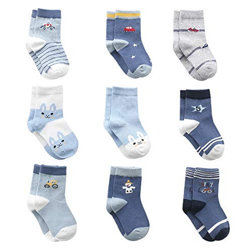 Cute Cotton Baby Boys Socks, 9 P...