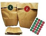 """24 Adventskalender Kraftpapiertüten mit 24 weihnachtlichen Aufkleber-Zahlen """"Schick und Bunt"""" zum Verschließen für den Adventskalender zum Basteln und Befüllen"""