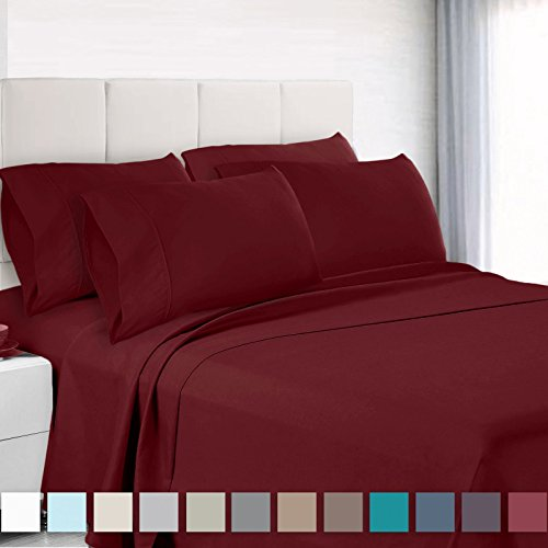 Empyrean Bedding Premium 6-Piece Bed Sheet & Pillow Case Set – Luxurious & Soft Cal King Size Linen, Extra Deep Pocket Super Fit Fitted Burgundy Red Sheets