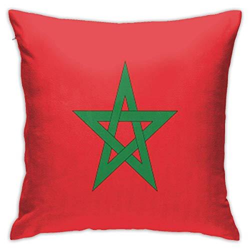 Caonm Fundas de Almohada 45x45cm Fundas de Almohada Moroco Rojo Bandera de Marruecos Vektor Star Marruecos Marruecos País