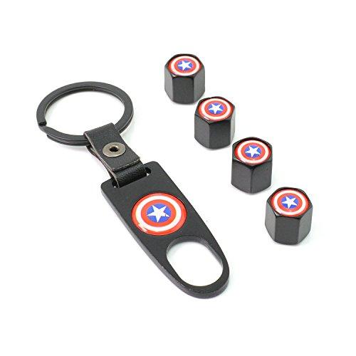 iDoood Car Tire Valve Stem Air Caps Cover + Keychain Black (Logo:For Captain America)
