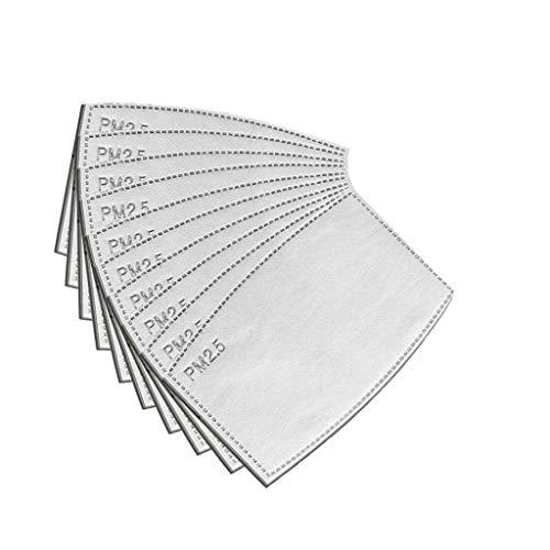 Lot de 10 filtres à charbon actif, tissu non tissé avec 5 couches de protection remplaçables P-M 2,5 pour femmes, hommes et enfants