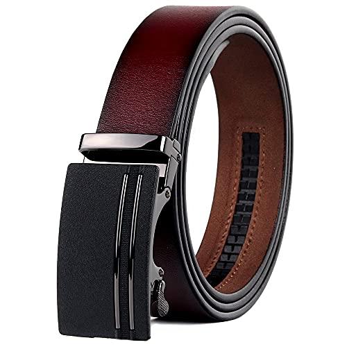 HUMINGG Cinturón Cuero Hombre Cinturones Hombres Retro Ratchet Cinturón Vino Rojo Hebilla Automática Pantallo Vestido Correa (Color : Wine Red, Size : 125cm)