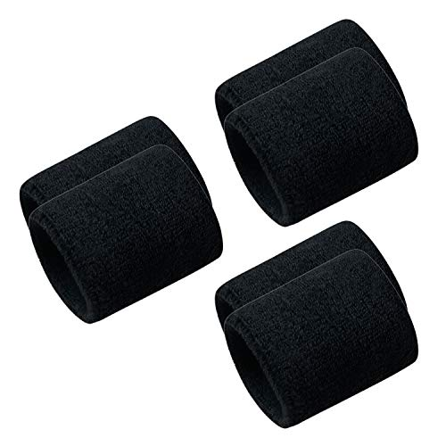 Men & Women Wristbands Terry Cloth Moisture Wicking for Sports,Tennis,Gym,Work Out (Black-3 Pack)