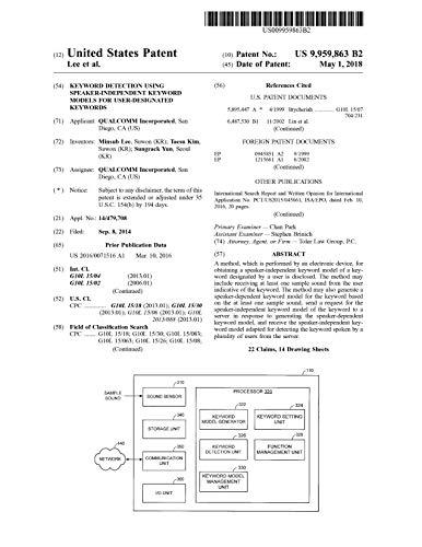 Keyword detection using speaker-independent keyword models for user-designated keywords: United States Patent 9959863 (English Edition)